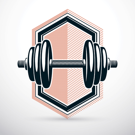 Dumbbell vector illustration isolated on white with disc weight. Sport equipment for power lifting and fitness training. Stock Vector - 87433278