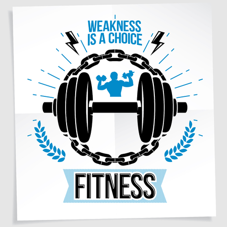 Sports center vector advertising poster composed using disc weight dumbbell and bodybuilder body silhouette surrounded by iron chain. Weakness is a choice lettering.