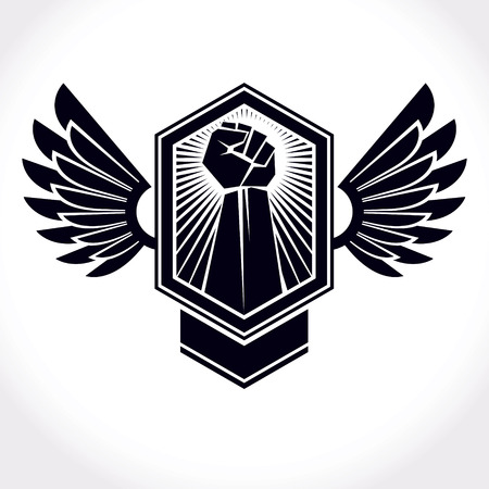 Vector symbol made using raised arm of muscular male and eagle wings. Freedom for the personality can be used as tattoo. Illustration