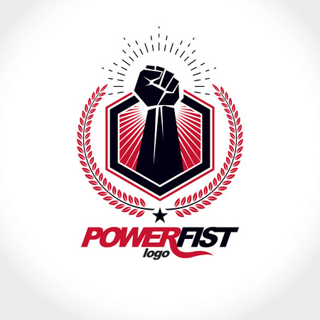 Vector symbol created using clenched fist of athletic strong man, protection shield, bird wings and different graphic elements. Fighter club conceptual logo. Illustration
