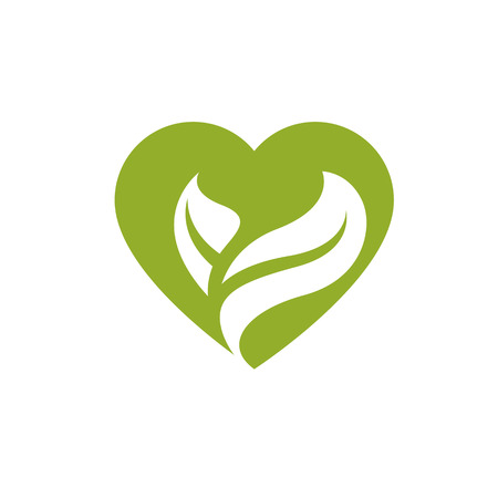 Vector illustration of loving heart decorated with green leaves. Phytotherapy metaphor, vector graphic emblem.
