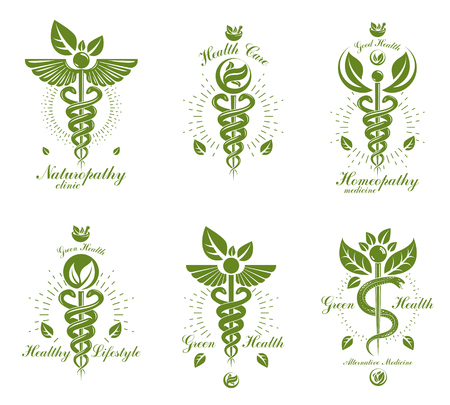 Set of Caduceus vector conceptual emblems created with snakes and green leaves. Wellness and harmony metaphor. Alternative medicine concept, phytotherapy logotypes.