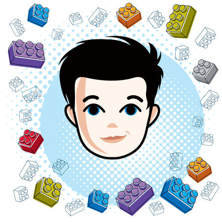 Cute boy face, human head. Vector brunet character, toddler face features, clipart.