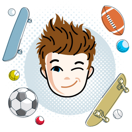 Cute boy face, human head. Vector redhead character, winking toddler face features, sport and entertainment clipart.