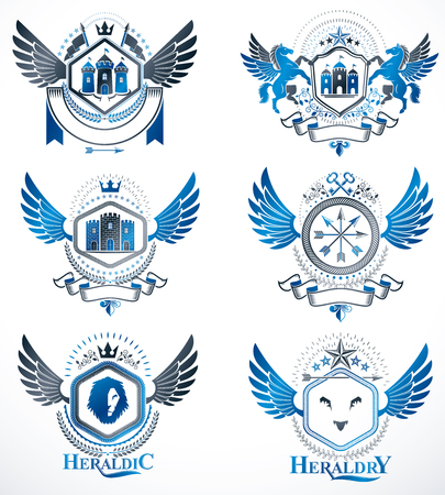 Vintage decorative heraldic vector emblems composed with elements like eagle wings, religious crosses, armory and medieval castles, animals. Collection of classy symbolic illustrations. Illustration