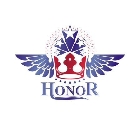 five stars: Ancient Crown emblem. Heraldic vector design element. Retro style label, heraldry logo. Antique logotype isolated on white background.