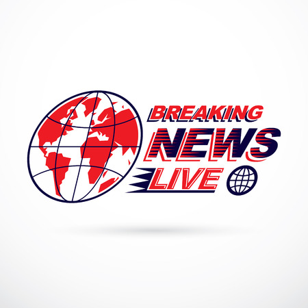 Breaking live news inscription, journalism theme vector emblem created with Earth planet illustration.