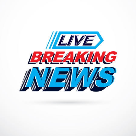 Breaking live news inscription, vector illustration. Social announcement. Illustration