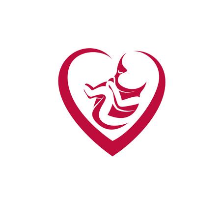 Ilustración de vector dibujado a mano del feto humano aislado en blanco. Nuevo símbolo conceptual de la vida.