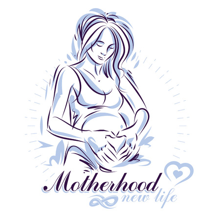 Vector hand-drawn illustration of pregnant elegant woman expecting baby, sketch. Medical center for pregnancy assistance marketing flyer template