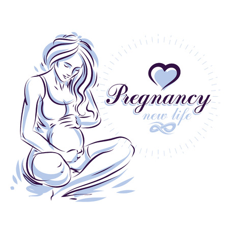 Elegant pregnant woman body silhouette drawing. Vector illustration of mother-to-be fondles her belly. Maternity ward marketing poster
