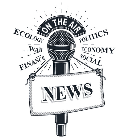 politic: 3d microphone vector illustration with news label. Broadcasting concept, social, economical, political news reporting.