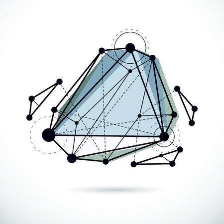 Abstract geometric 3D faceted object, modern digital technology and science theme vector background.  New technology illustration.