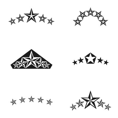 five stars: Royal Stars emblems elements set. Heraldic Coat of Arms decorative logos isolated vector illustrations collection.