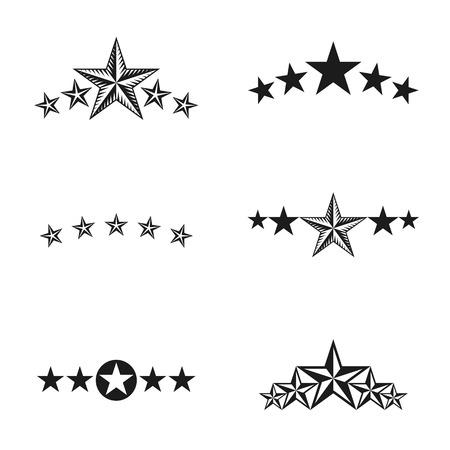 five stars: Stars ancient emblems elements set. Heraldic vector design elements collection. Retro style label, heraldry logo. Illustration