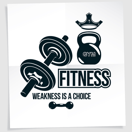 Weight-lifting vector motivation poster composed using disc weight dumbbell and kettle bell sport equipment. Weakness is a choice lettering. Иллюстрация