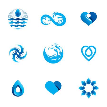 Seewellenspritzen-Vektorfirmenzeichen. Weltwassertag Thema. Im Einklang mit der Natur leben.