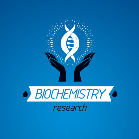 human evolution: Caring hands hold a model of human DNA. Bioengineering as the direction of genetics, abstract vector scientific symbol best for use in education, science and humanity evolution research. Illustration