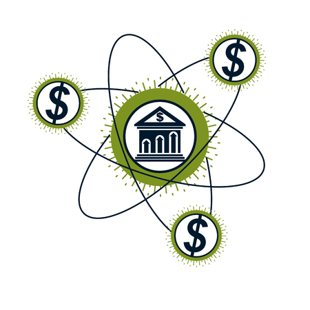 Banking conceptual logo, unique vector symbol. Banking system. The Global Financial System. Circulation of Money.