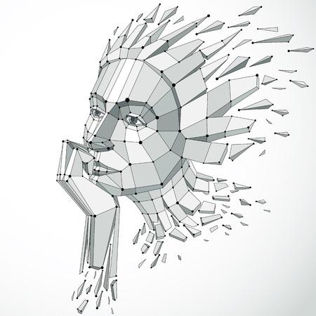 Illustration des Vektors 3d des menschlichen Kopfes hergestellt in der niedrigen Polyart. Gesicht der nachdenklichen Frau, kluge Person. Intelligenz-Allegorie, künstlerisch deformiertes Drahtgitterobjekt, in Splitter und Fragmente gebrochen Standard-Bild - 87433640