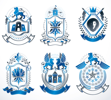 five stars: Set of luxury heraldic vector templates. Collection of vector symbolic blazons made using graphic elements, royal crowns, medieval castles, armory and religious crosses.