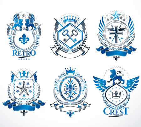 five stars: Set of vector vintage emblems created with decorative elements like crowns, stars, crosses, armory and animals.  Collection of heraldic coat of arms.