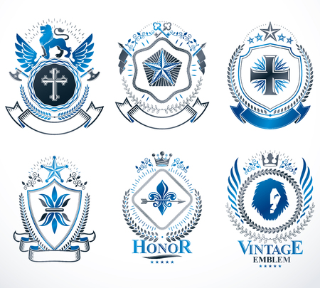 five stars: Heraldic Coat of Arms created with vintage vector elements, animals, towers, crowns and stars. Classy symbolic emblems collection, vector set.