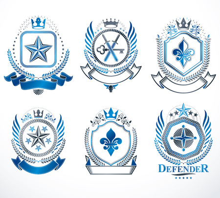 five stars: Set of vector vintage elements, heraldry labels stylized in retro design. Symbolic illustrations collection composed with medieval strongholds, monarch crowns, crosses and armory.
