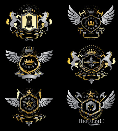 five stars: Vintage decorative heraldic vector emblems composed with elements like eagle wings, religious crosses, armory and medieval castles, animals. Collection of classy symbolic illustrations. Illustration