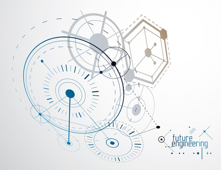 Engineering technology wallpaper made with circles and lines.