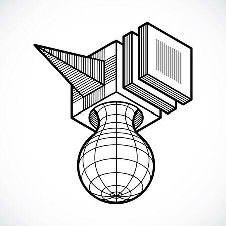 Engineering three-dimensional construction trigonometric shape. Illustration