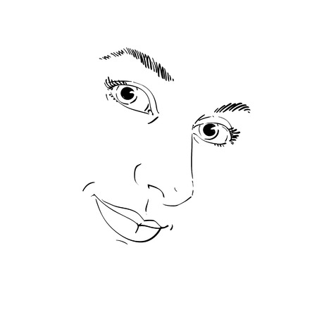 Creative hand-drawn sketch of a woman face. Ilustrace