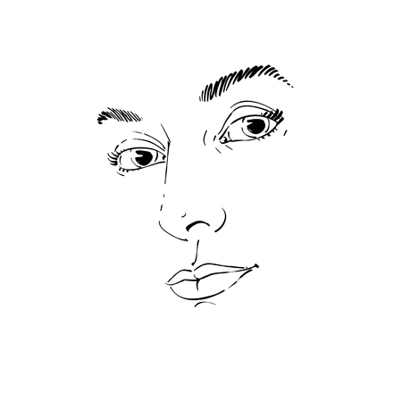Creative hand-drawn sketch of a woman face. Illustration