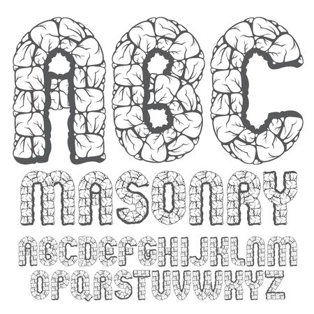 Set of trendy old capital English alphabet letters.