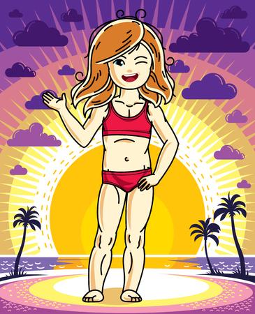Cute happy little red-haired girl posing sunset landscape. Illustration