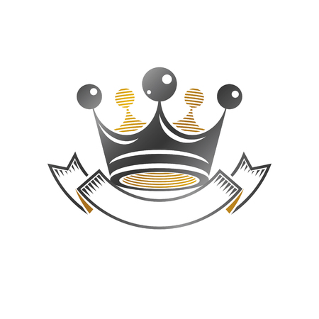 Royal crown emblem design. Illustration