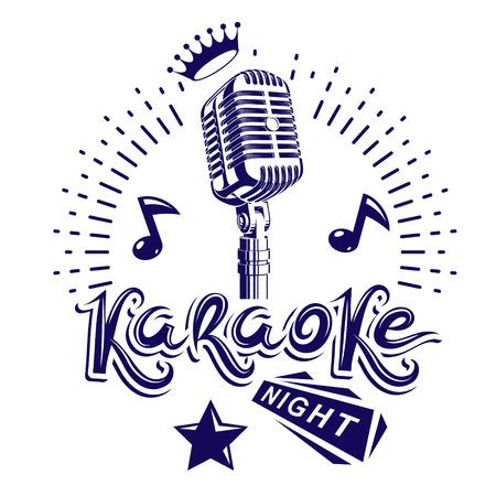 Van de karaokenacht en nachtclub discotheque vectoruitnodigingsaffiche die met stadium of registreertoestelmicrofoon en muzieknoten wordt gecreeerd.