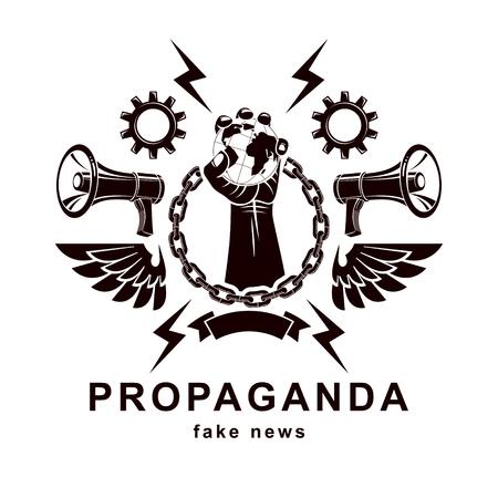 Fake news emblem design. Illustration