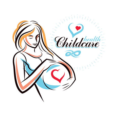 Pregnant female body shape hand drawn illustration. Illustration