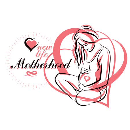 Hand-drawn illustration of pregnant woman.