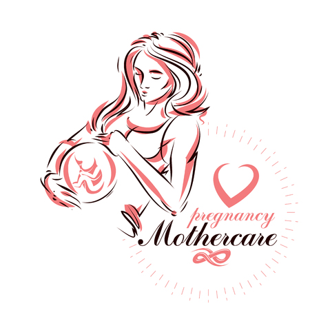 Elegant pregnant woman body silhouette drawing. Illustration