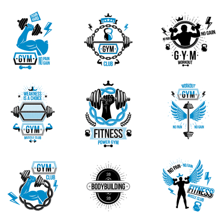 Weightlifting theme signage. 向量圖像