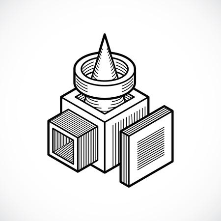 Abstract geometric shape illustration. Illustration