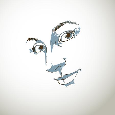 Hand-drawn art portrait of white-skin romantic woman.