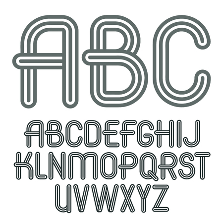 u k: Set of trendy capital alphabet lettering design.