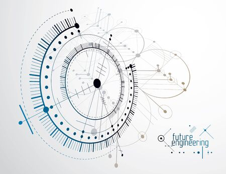 Futuristic circle and line abstract illustration.