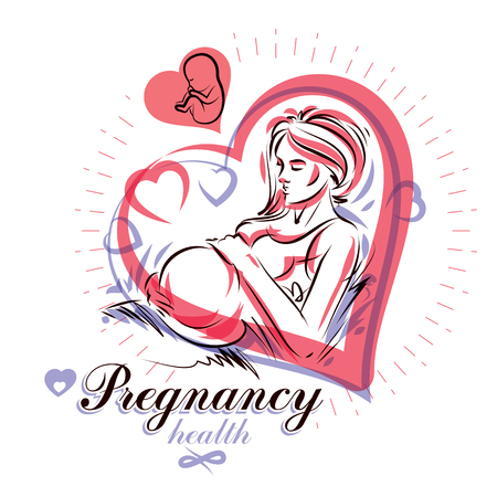 fondle: Elegant pregnant woman body silhouette drawing. Illustration
