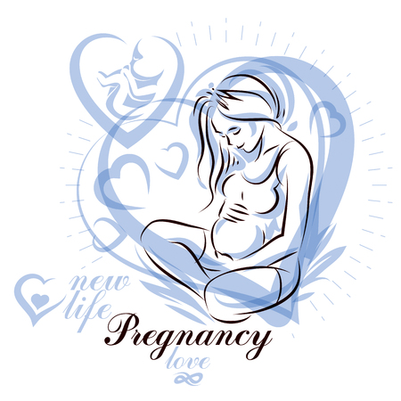 Elegant pregnant woman body silhouette drawing. Ilustrace