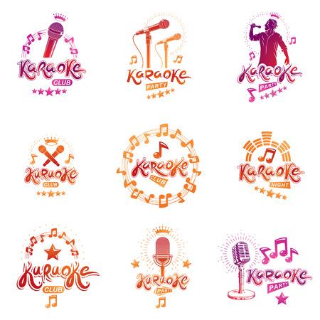 Collection of karaoke signage design. Illustration