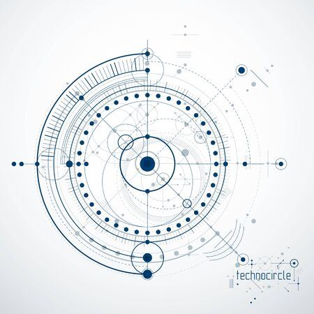 Modern line and circle abstract illustration.